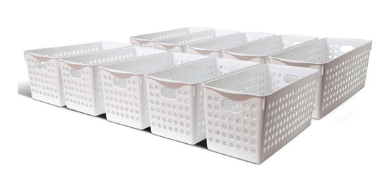 Canasto Organizador Cesto Plastico Calado Colombraro Kit X10