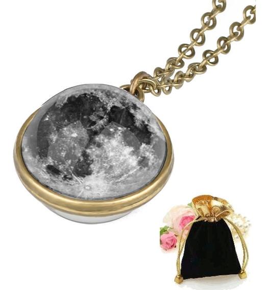 Colar Pingente Esfera Lua Cheia Full Moon + Brinde