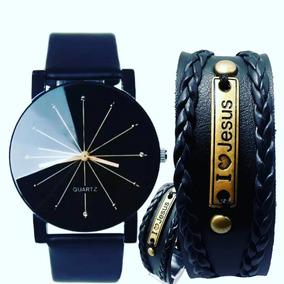 Relógio Feminino Pulseira De Couro Branca Promoção