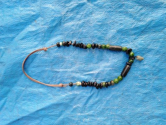 Collar De Jade Verde Limón Y Negro Con Dije De Jade Prehispa