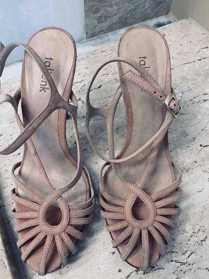 Sandália Alta Em Camurça Nk