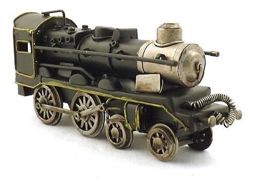 Enfeite Mini Trem Metal Preto Oldway