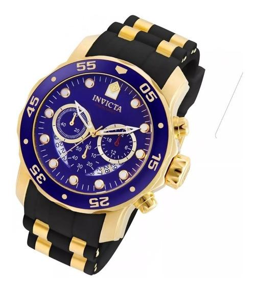 Relógio Gtt5896 Invicta Pro Diver Original 6983 Dourado Azul
