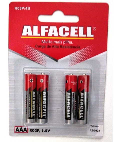 Pilha Palito Alfacell Aaa 1.5v Com 4 Unidades