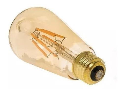 Lámpara Filamento Led Decoración Cálida Vidrio Ambar 4w