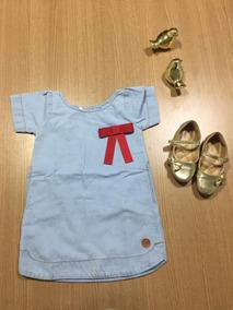 Roupa De Criança Menina Infantil Vestido Jeans - 2,4,6 Anos&