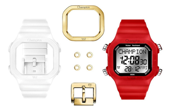 Relógio Unissex Champion Yot Transparente/vermelho Cp40180x