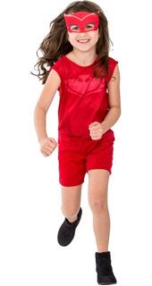 Roupa Infantil Menina Pj Masks Corujita Macacão 2 A 12 Anos