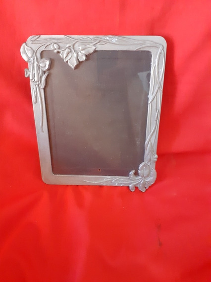 Porta Retrato Art Noveaux Em Metal Grande