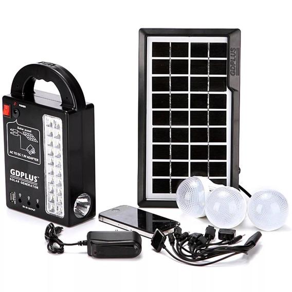 Kit Placa Solar Com Bateria 3 Lâmpadas Led Lanterna Camping