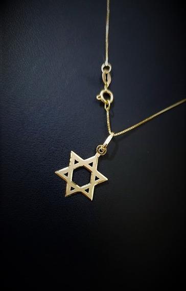Correntinha Em Ouro 18k 40cm Veneziana Ping Estrela De Davi