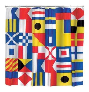 Kikkerland Cortina De Baño Diseño Banderas Naúticas
