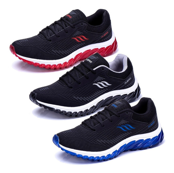 Kit 3 Pares Tenis Masculino Esportivo Caminhada Black Friday