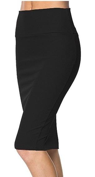 Faldas Tubo Formal Cintura Alta Unicolor Y Estampadas