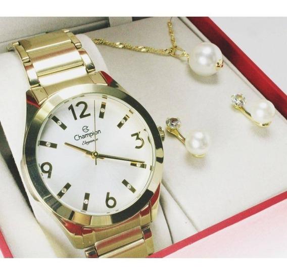 Kit Relógio Champion Elegance Feminino Cn25396w