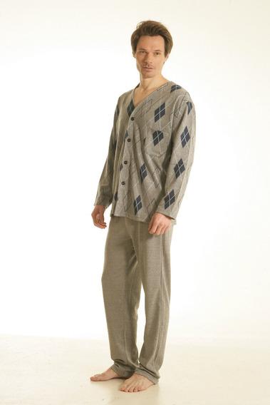 Pijama Para Hombre Con Boton Punto Frizado