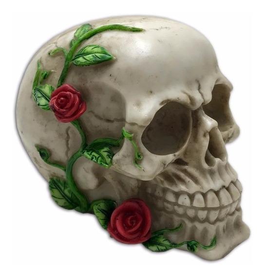 Crânio Rosas Roseira Caveira Esqueleto Halloween Resina