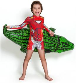 Blusa Proteção Solar Infantil Homem De Ferro Marvel