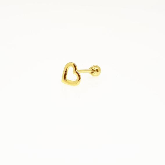 Piercing Orelha Tragus/cartilagem Coração Em Ouro 18k
