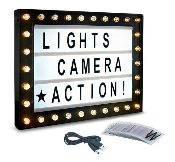 Cartel Pizarra Luz Led Light Box Hollywood 39x30 Pilas Usb