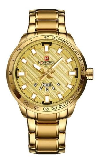 Relógio Naviforce Nf9090 Dourado, Estiloso Luxo, Original