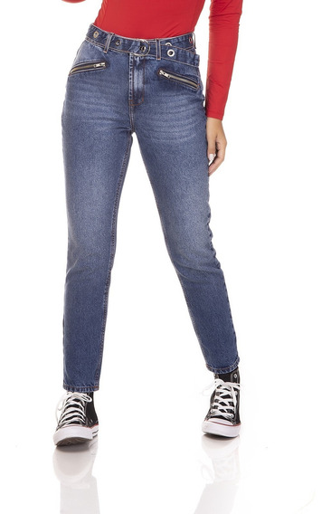Calça Jeans Denim Zero Mom Com Zíper Frontal-dz3259