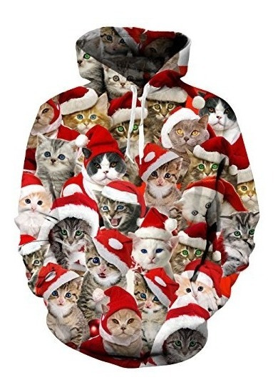 Loveternal Unisex 3d Ugly Christmas Cat Print Hoodies Hipste