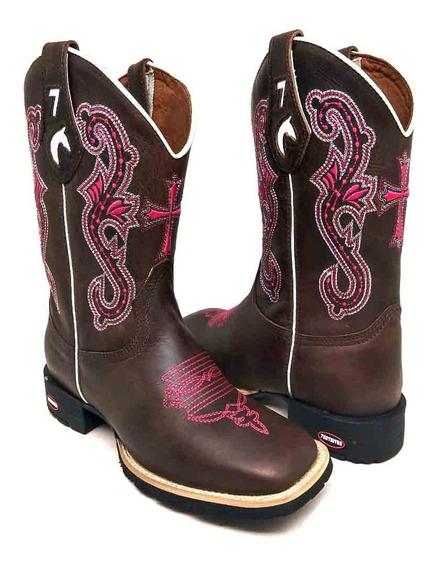 Bota Feminina Country Texana Bico Laço Quadra 7estrivos