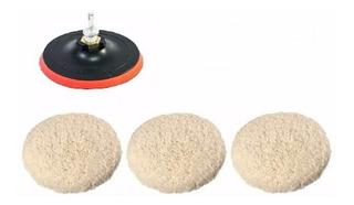 Kit Polimento Adaptador+ Disco 125mm Furadeira C/3 Boinas Lã