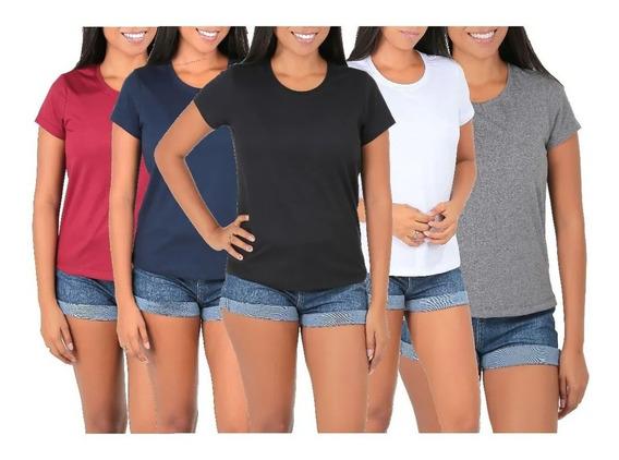 Camiseta Feminina Moda Básica Algodão