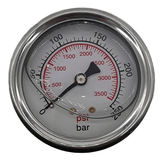Manometro 250 Bar Horizontal Com Glicerina - R.1/4 Npt
