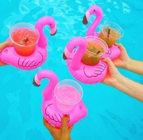 Kit Porta Copos 5 Flamingos 5 Abacaxis 5 Coqueiros