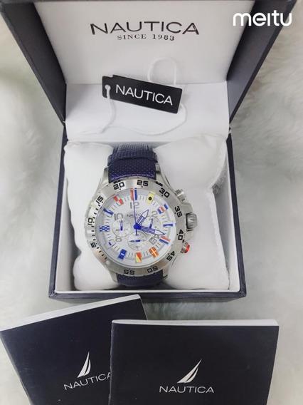Relógio Dn88 Azul Náutica Puls. Borracha Linha Bandeirinha