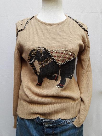 Sweater Cuello Redondo Bordado Lentejuelas Perlas Divino