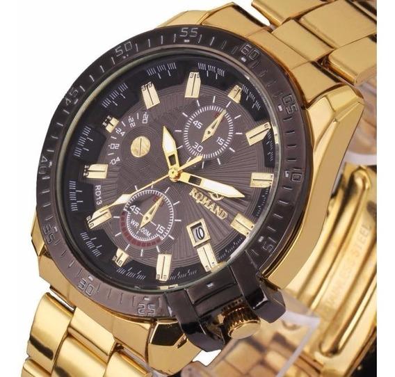 Relógio Romand Masculino Aço Cromado Luxo C/caixa (promoção)
