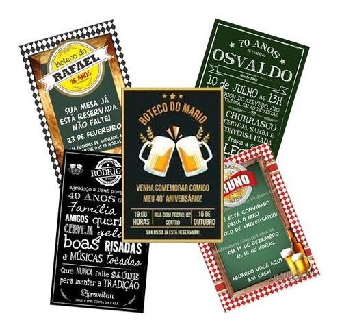 Imagem 1 de 2 de Convite Festa Boteco Bar Cerveja Promoção Envio Rápido