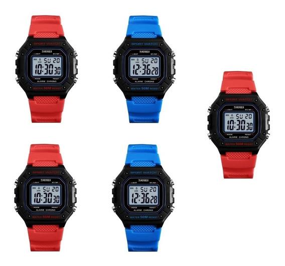 5 Relógio Skmei Digital Analogic Esport Retro Barato Atacado