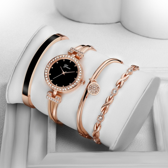 Relógio Rosa Gold + 3 Pulseira Aço Inoxidável
