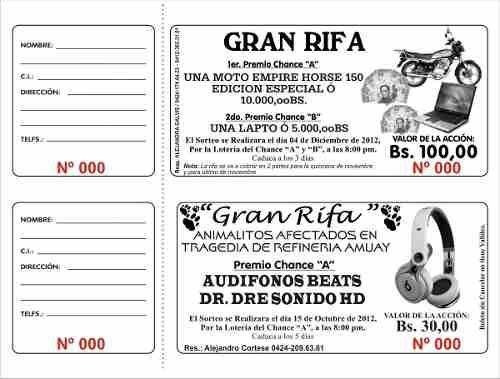 Boletos Rifa Talonario 500 Boletos Personalizados Foliados