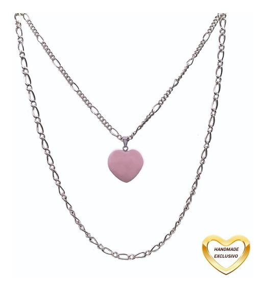 Colar Camadas Pingente Pedra Coração Rosa Prata