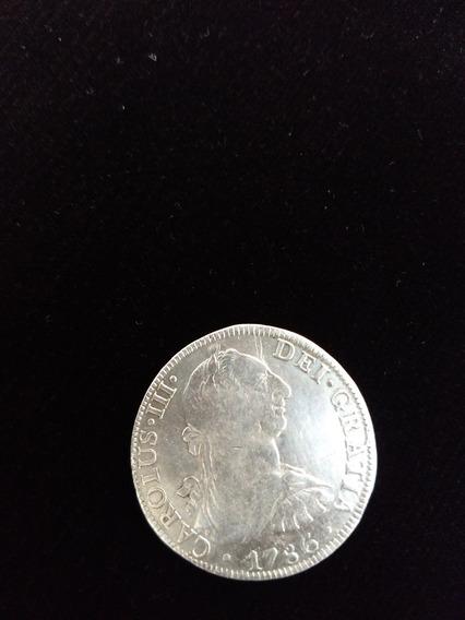 Moneda De Plata 8 Reales Carlos ||| 1786 Ceca México