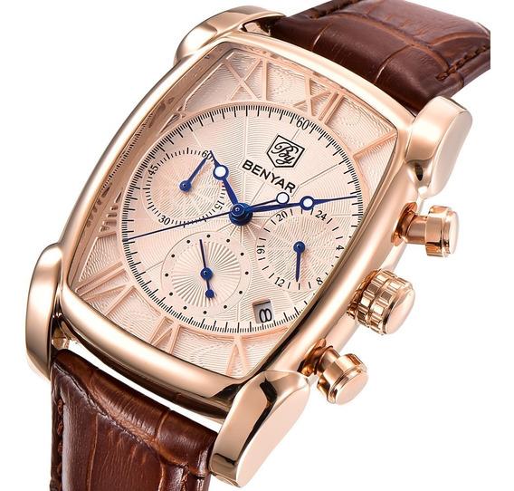 Homens Relógio De Quartzo Negócios Benyar Ouro