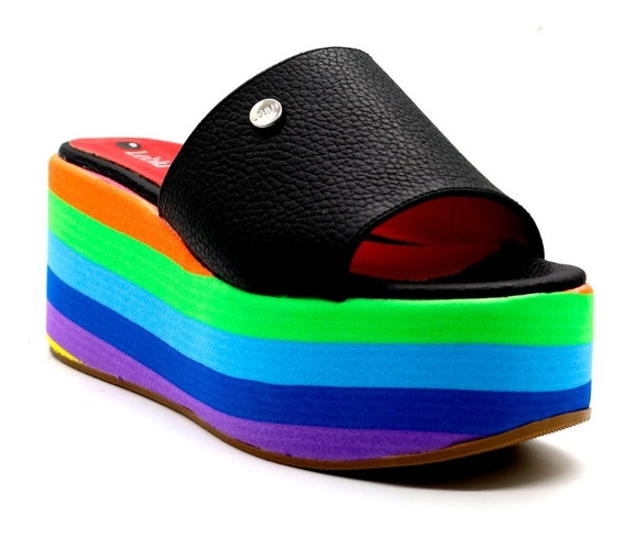 Zapatos Sandalias Plataforma Cuero Negro Urbanas Leblu 880