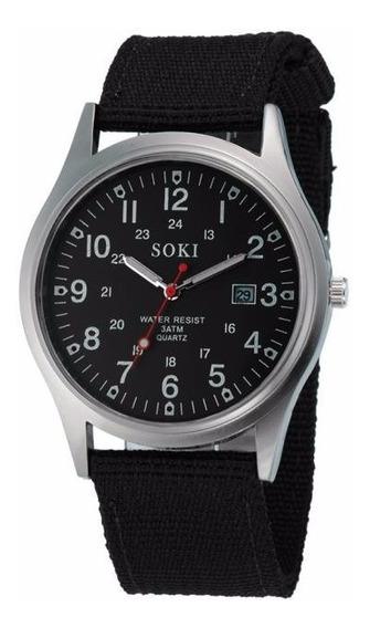 Reloj Militar Acero Cuarzo Marca Soki Color Negro Lona