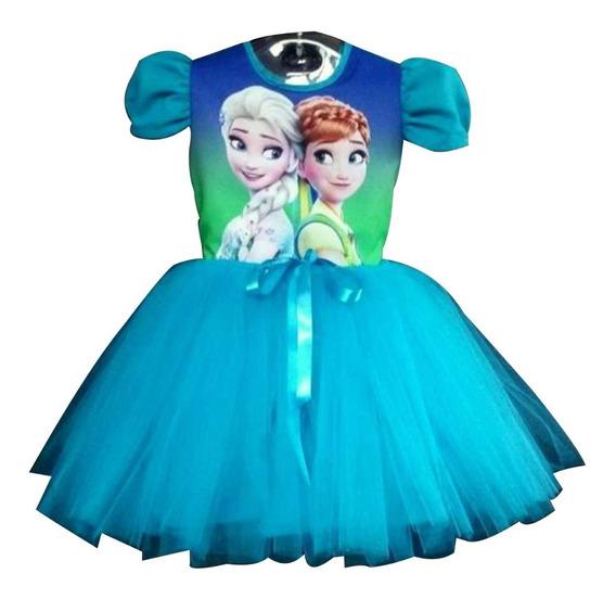 Vestido Infantil Frozen Fever Azul Fantasia Frozen Bailarina