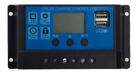 Controlador De Carga Solar Pwm Lcd 30a 12/24v Melhor Preço!!