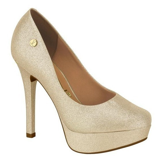 Sapato De Festa Vizzano Prata Dourado Meia Pata