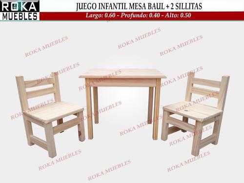 Juego Infantil Mesa Baul + 2 Sillitas De Niño Pino Roka