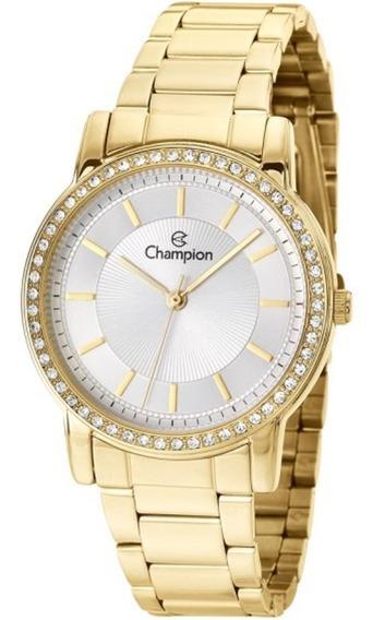 Relógio Champion Feminino Dourado Com Strass Cn27956h