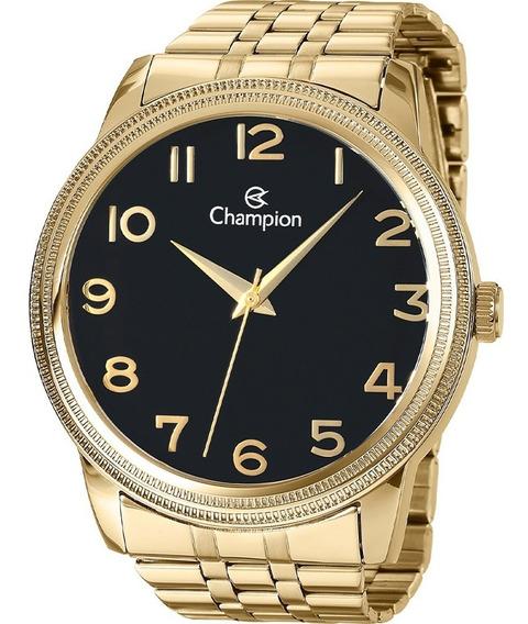 Relógio Masculino Champion Grande 4,5 Dourado Preto Cn29490u